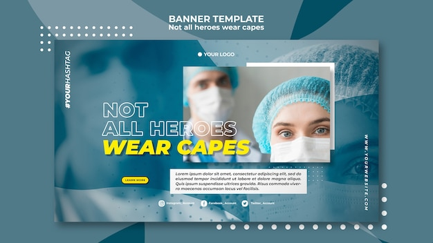 Not all heroes wear capes banner template Free Psd