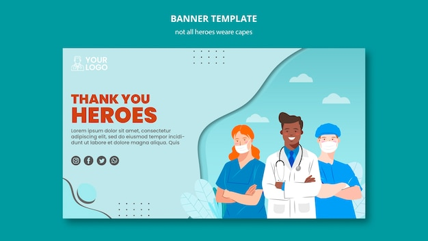 Not all heroes wear capes banner Free Psd