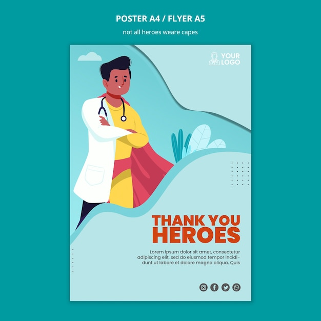 Not all heroes wear capes poster template Free Psd