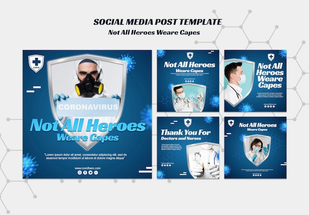 Not all heroes wear capes posts template Free Psd