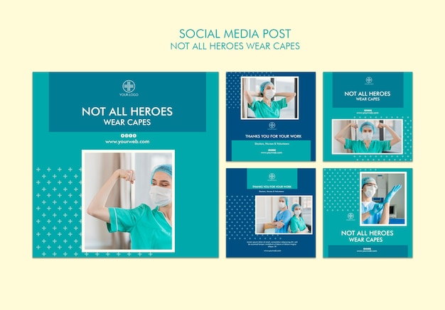 Not all heroes wear capes social media post Free Psd