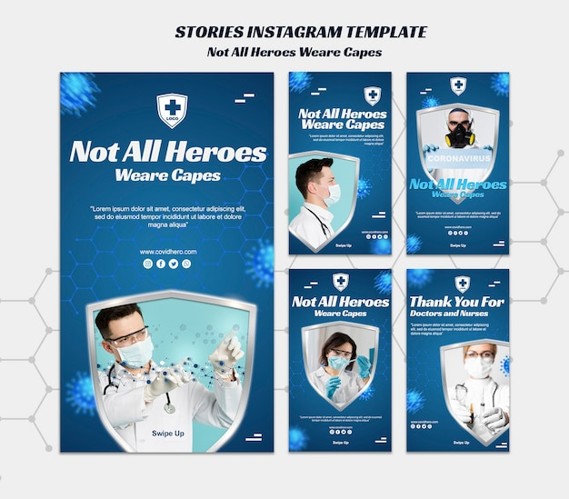 Not all heroes wear capes stories template Premium Psd