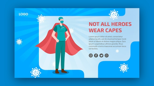 Not all heroes weare capes banner design Free Psd