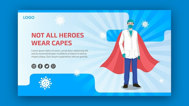 Not all heroes weare capes banner Free Psd