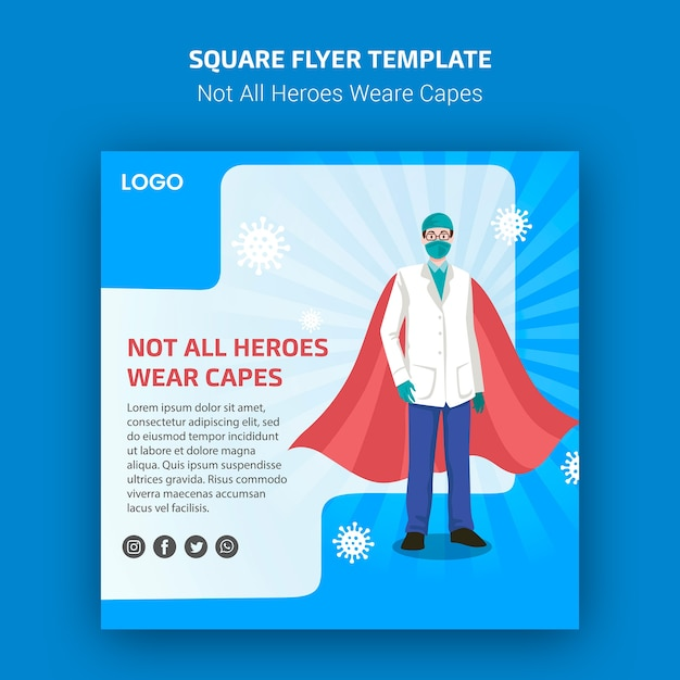 Not all heroes weare capes flyer style Free Psd