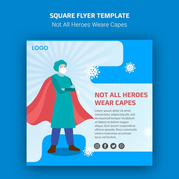 Not all heroes weare capes flyer template Free Psd
