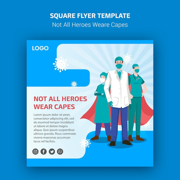 Not all heroes weare capes flyer Free Psd