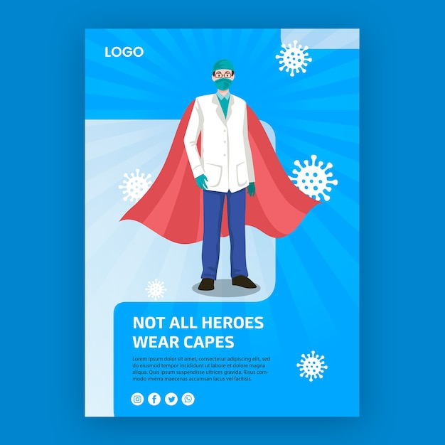 Not all heroes weare capes poster concept Free Psd