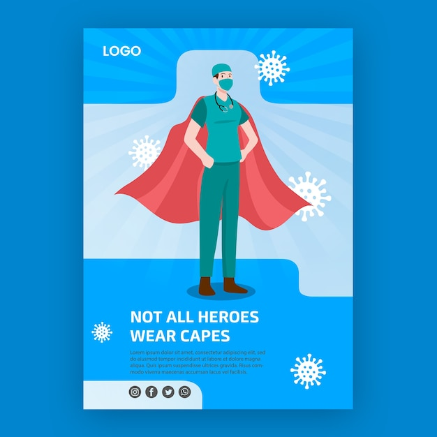 Not all heroes weare capes poster theme Free Psd