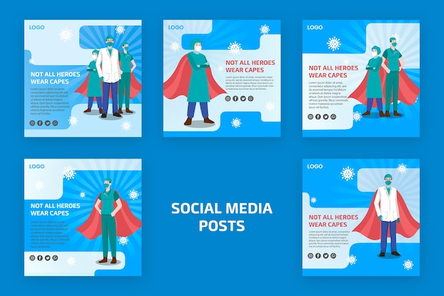 Not all heroes weare capes social media post Free Psd
