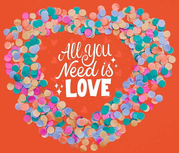 All you need is love text confetti frame shape Free Psd