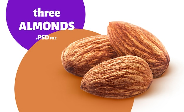 Almond nuts banner isolated on white background Premium Psd