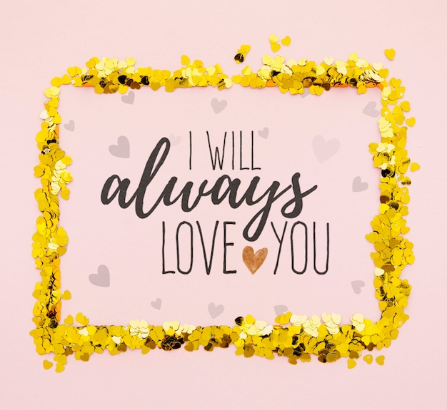 Always love you with golden confetti frame Free Psd