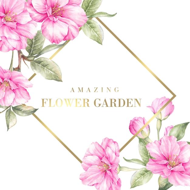 桜の花を咲かせるフラワーガーデンカード。 Premium Psd
