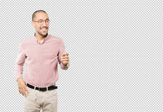 Amazed young man looking up gesture Premium Psd