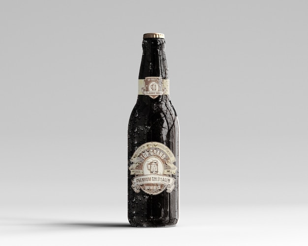 Amber glass beer bottle mockup with water drops - front view Premium Psd