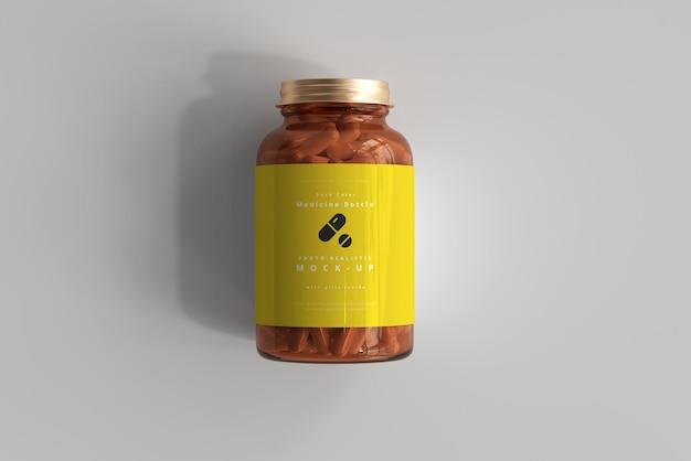 Мокап янтарной бутылки с лекарством Бесплатные Psd
