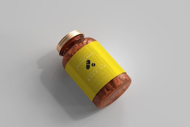Amber medicine bottle mockup Free Psd