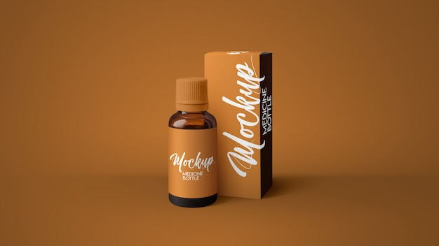 Янтарный макет бутылки медицины Premium Psd