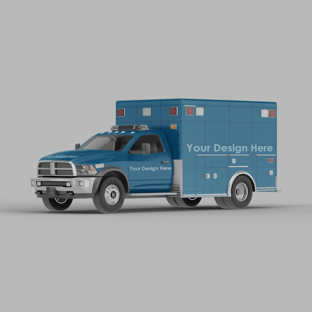 Ambulance front half side view mockup isolated Premium Psd