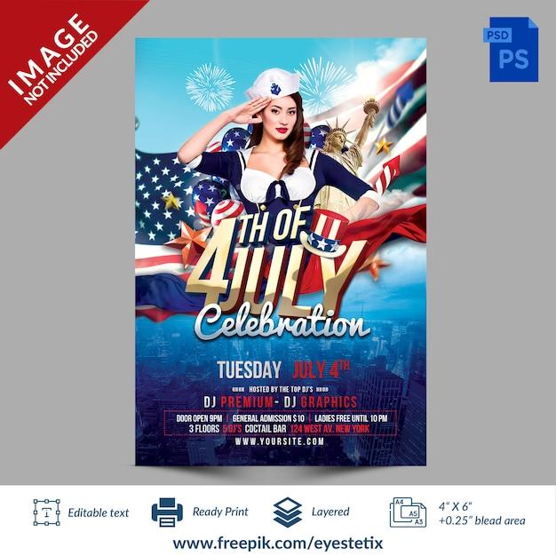 Флаер для празднования американского праздника 4 июля Premium Psd