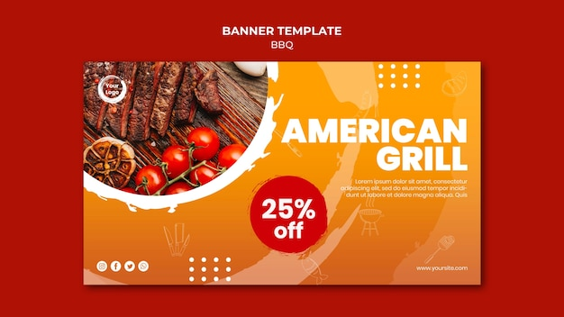 American bbq and grill house banner template Free Psd