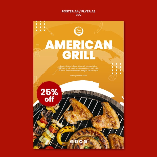 American bbq and grill house flyer template Free Psd
