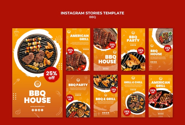 American bbq and grill house instagram stories Free Psd