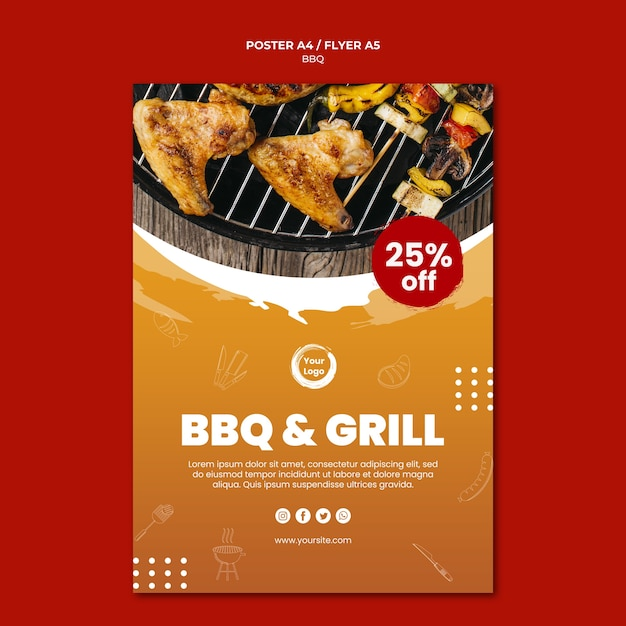 American bbq and grill house poster template Free Psd