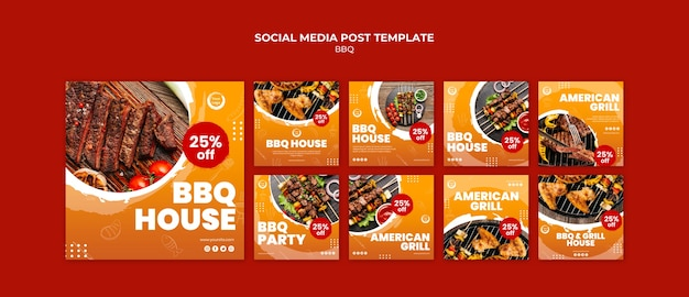 American bbq and grill house social media post Free Psd