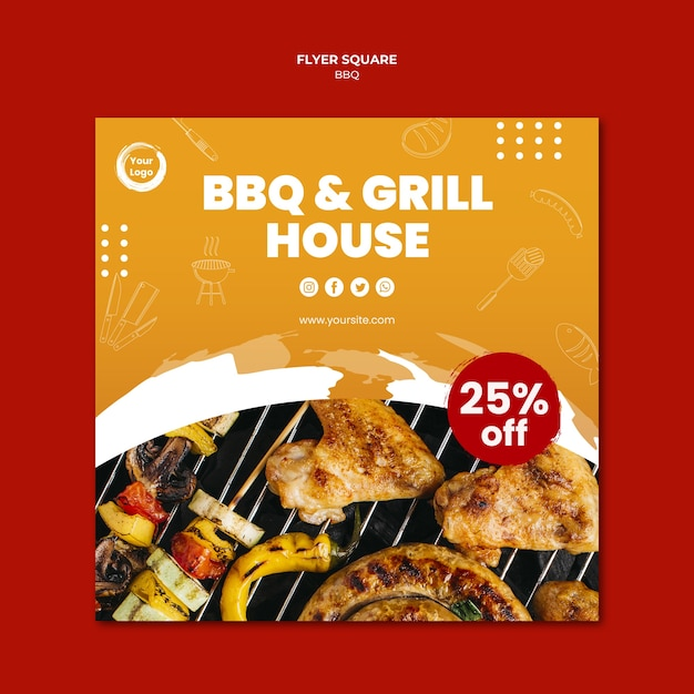 American bbq and grill house square flyer template Free Psd