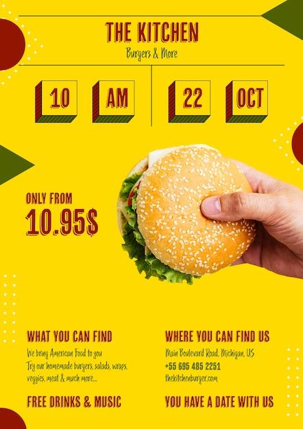 Американский бургер с меню специального предложения Бесплатные Psd