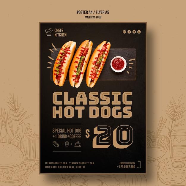 Американский классический шаблон флаера хот-догов Бесплатные Psd