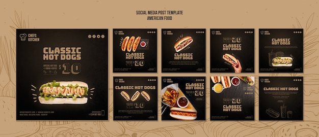American classic hot dogs social media post Free Psd