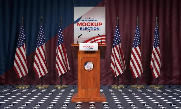 Американский подиум выборов с флагами Бесплатные Psd