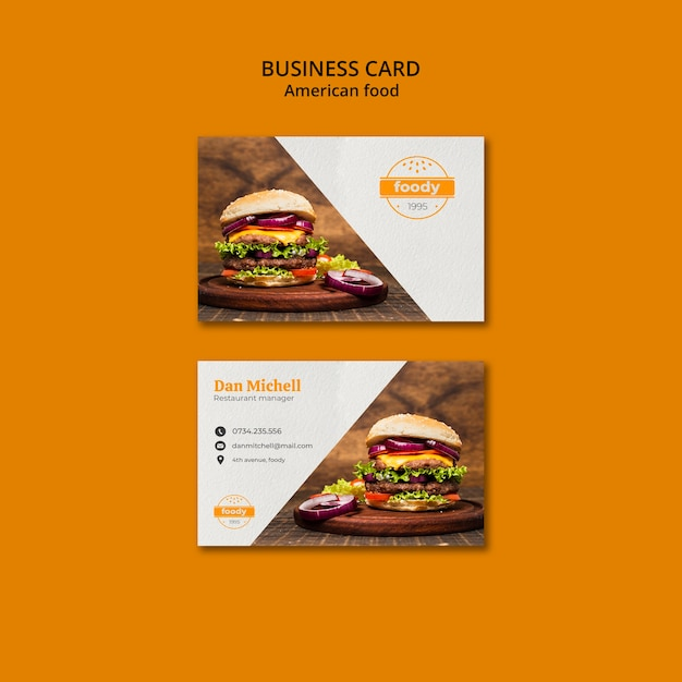 American fast food and fries combo business card Free Psd