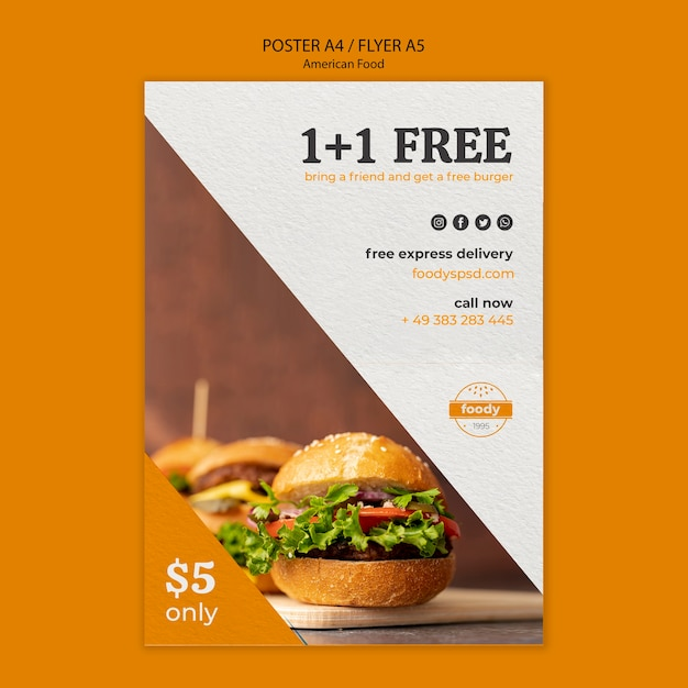 American fast food and fries combo flyer Free Psd