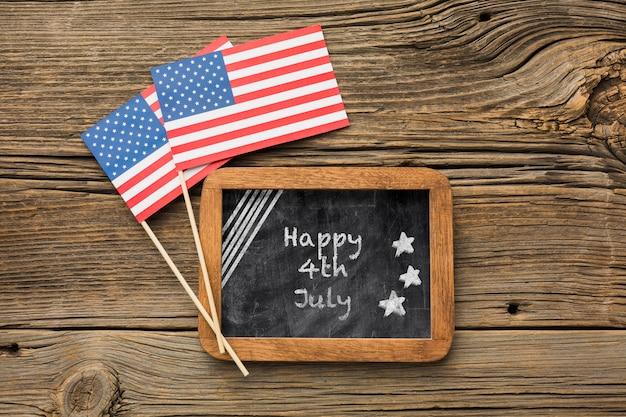 Bandiere americane e cornice con mock-up Psd Gratuite
