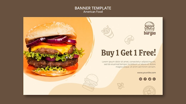 American food banner template concept Free Psd