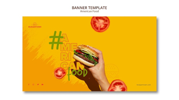 American food banner template design Free Psd