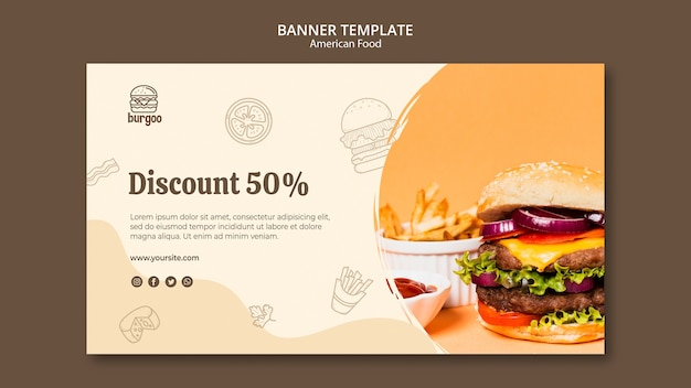 American food banner template Free Psd