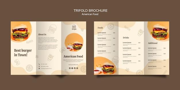 アメリカ料理パンフレットカードテンプレートコンセプト 無料 Psd
