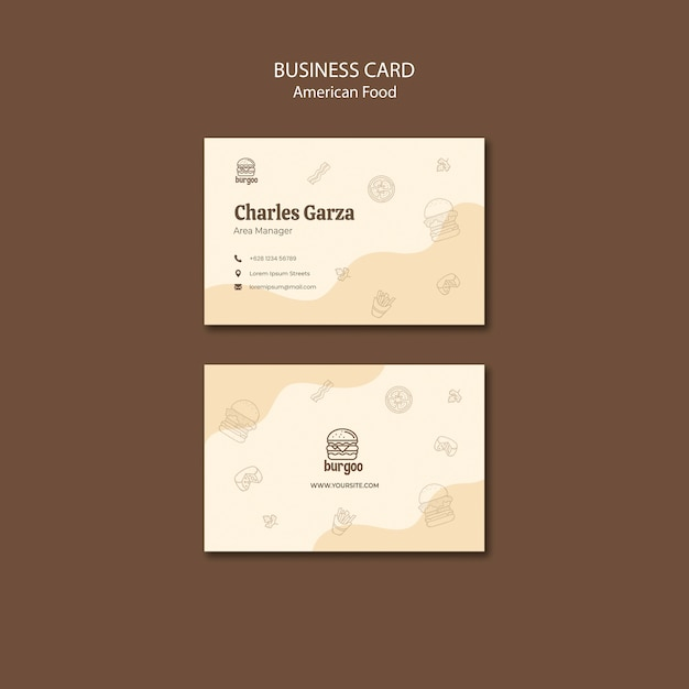 American food business card template concept Free Psd
