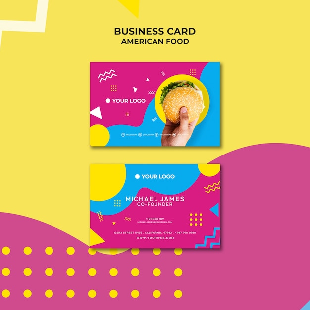 American food business card template Free Psd