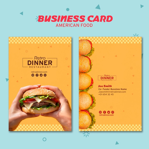 American food concept business card Free Psd