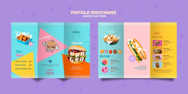 American food concept trifold brochure Free Psd