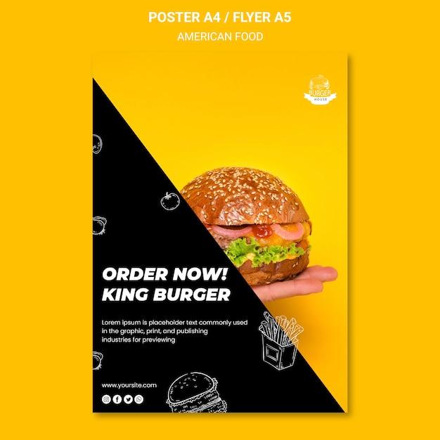 Концепция шаблона флаера американской еды Бесплатные Psd