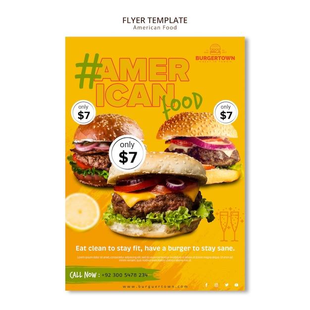 Американская еда флаер шаблон дизайна Бесплатные Psd