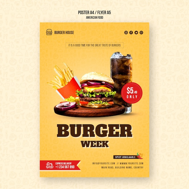 American food flyer template Free Psd