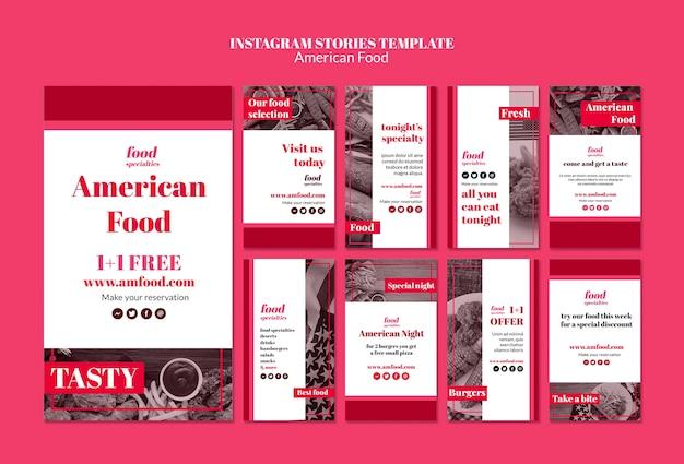 アメリカ料理instagramストーリーテンプレート 無料 Psd